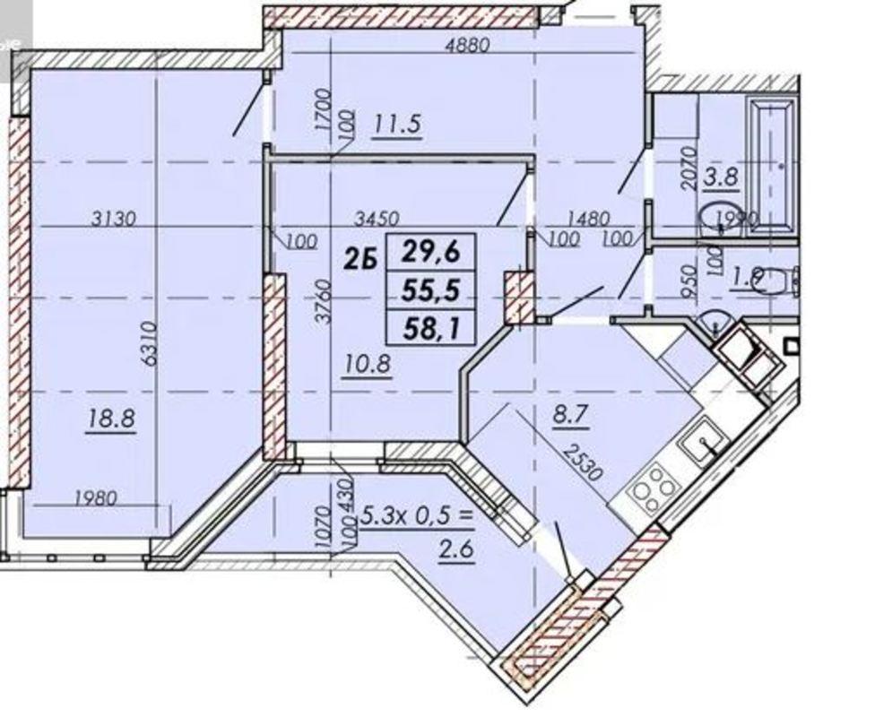 2 комнатная квартира в ЖК Реал Парк