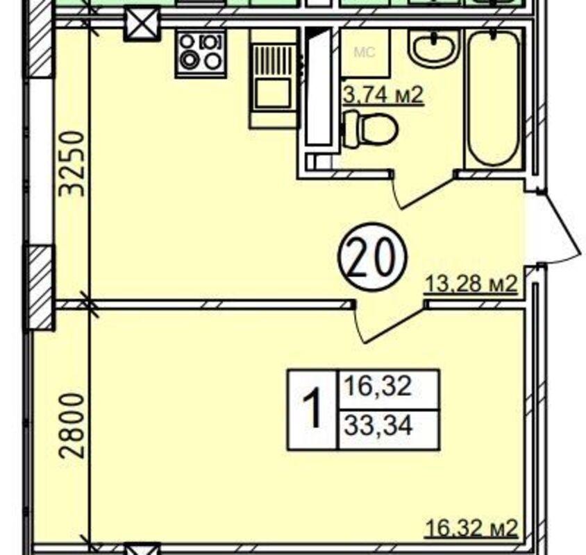 1-комнатная квартира в Пространстве на Гераневой