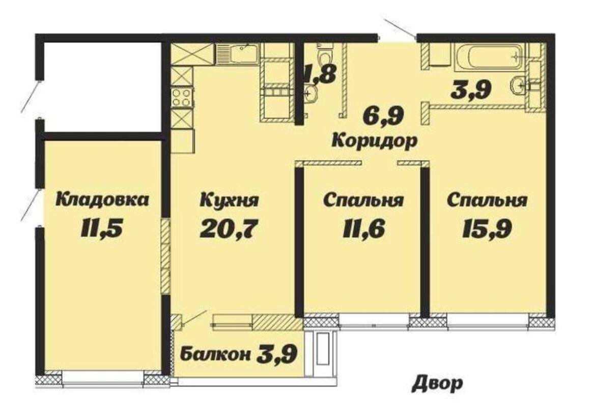 2-х комнатная квартира в ЖК Скай Сити