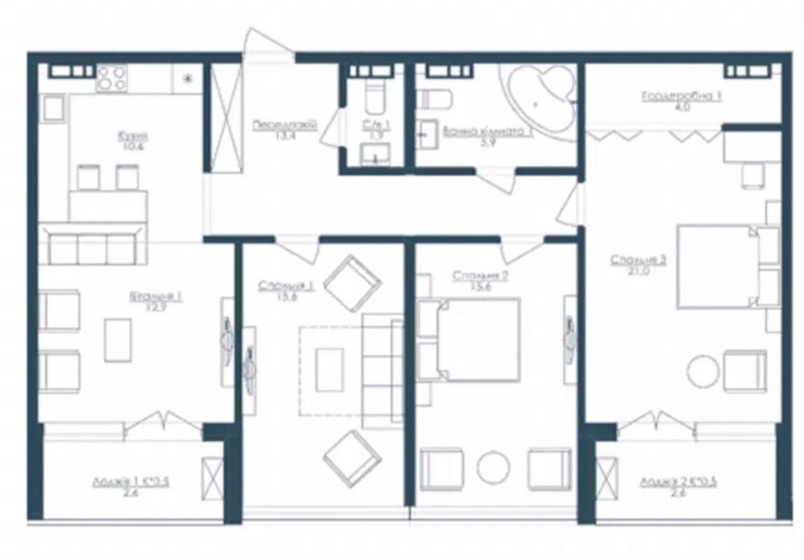 3 комнатная квартира в ЖК Кандинский