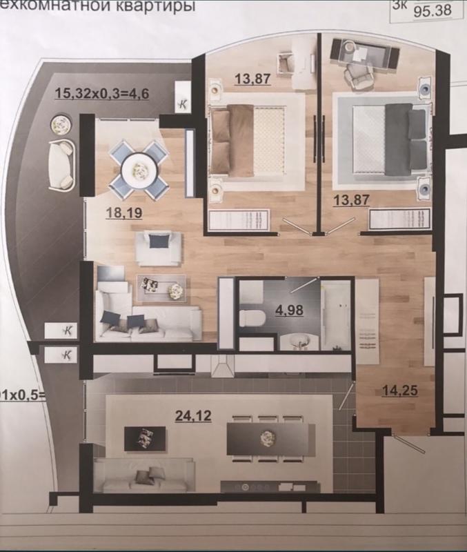 3 комнатная квартира в ЖК Корфу