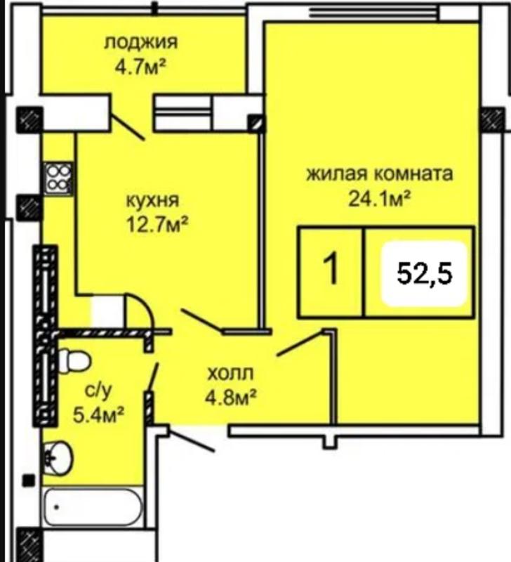 1 комнатная квартира на Костанди в ЖК Вернисаж