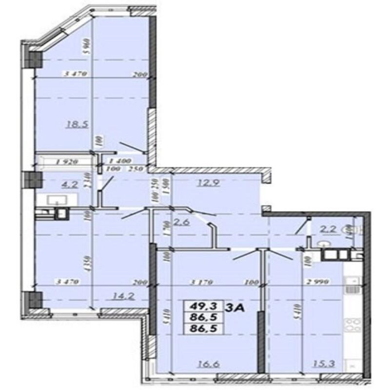 3-комнатная квартира в Реал парк