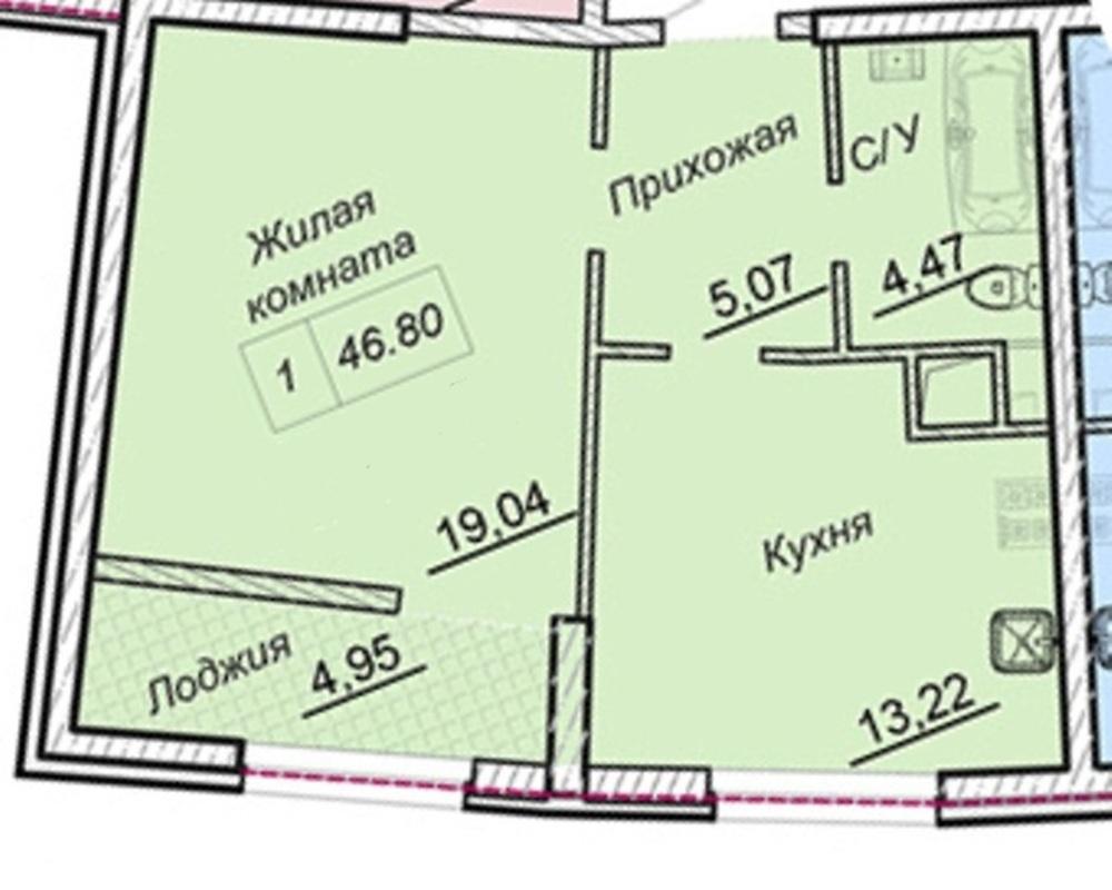 1-комнатная квартира в ЖК 43 Жемчужине/Аркадия