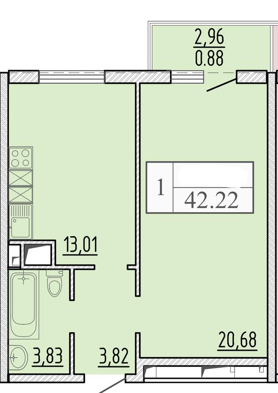 1-комнатная в 58 Жемчужине