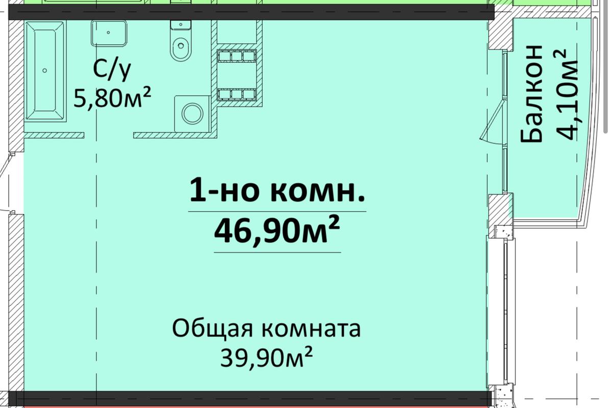 1-комнатная квартира в 4 Сезона