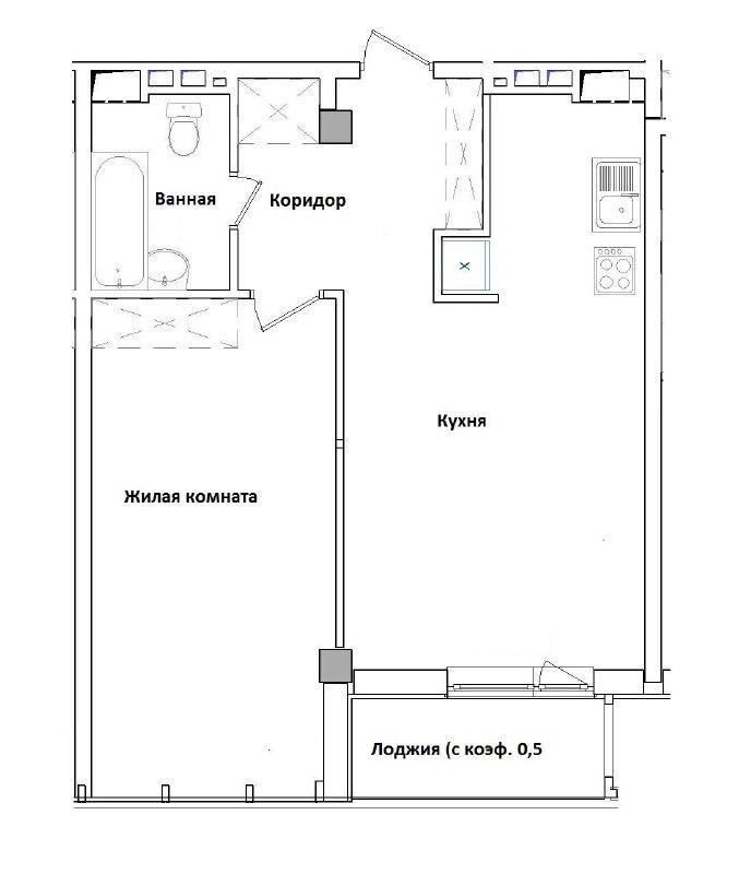 1-комнатная квартира, ЖК Гринвуд, вид моря