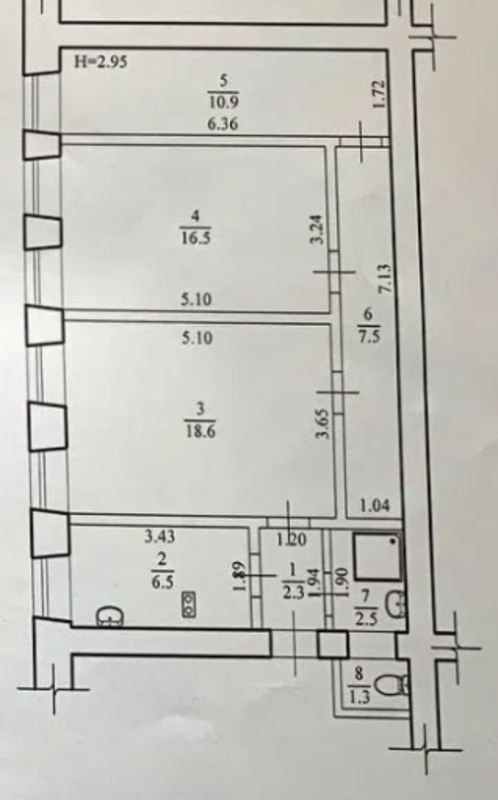 3 комнатная квартира в царском доме на Нежинской