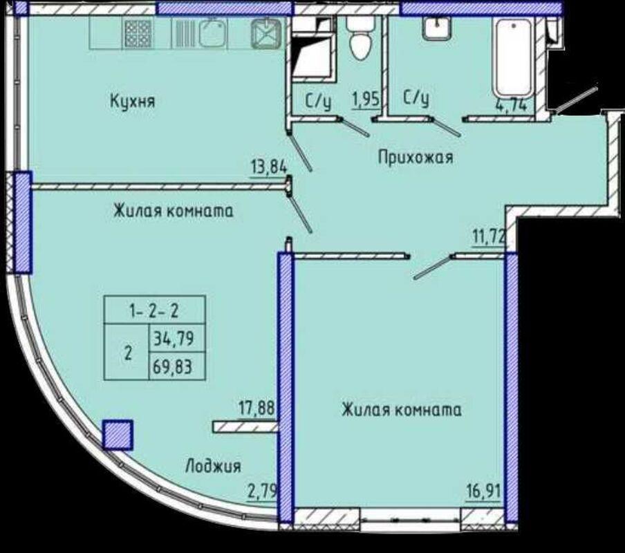 2х комнатная квартира в ЖК 45 Жемчужина/Аркадия