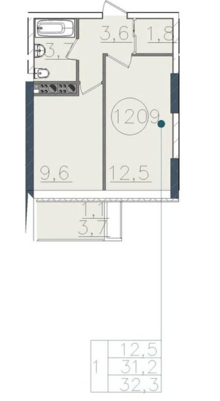 1-комнатная квартира в Пространстве на Тульской