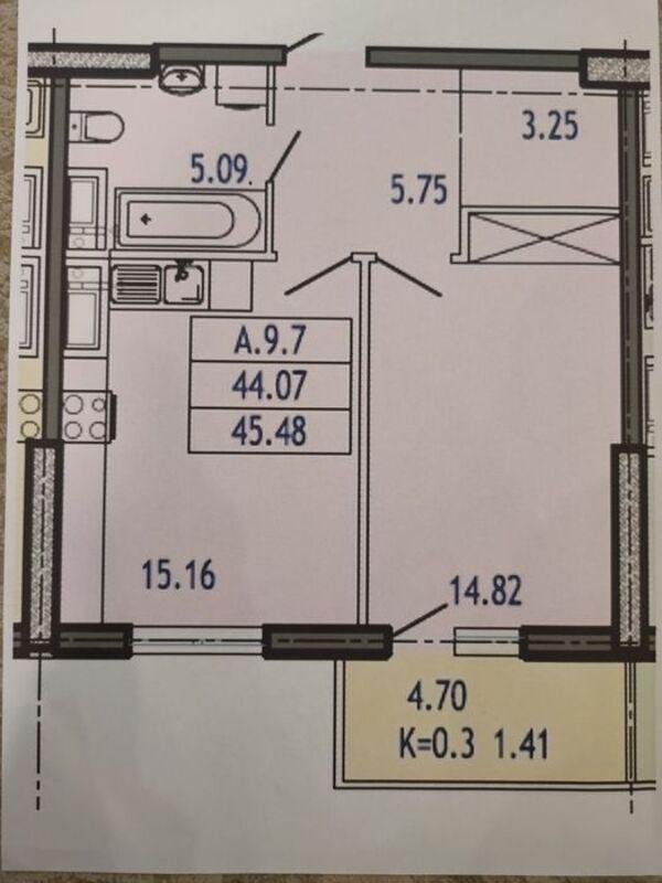 1-комнатная в ЖК Акрополь на 5 Станции Фонтана