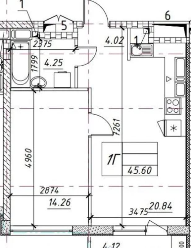 1 комнатная квартира в ЖК Манхэттен