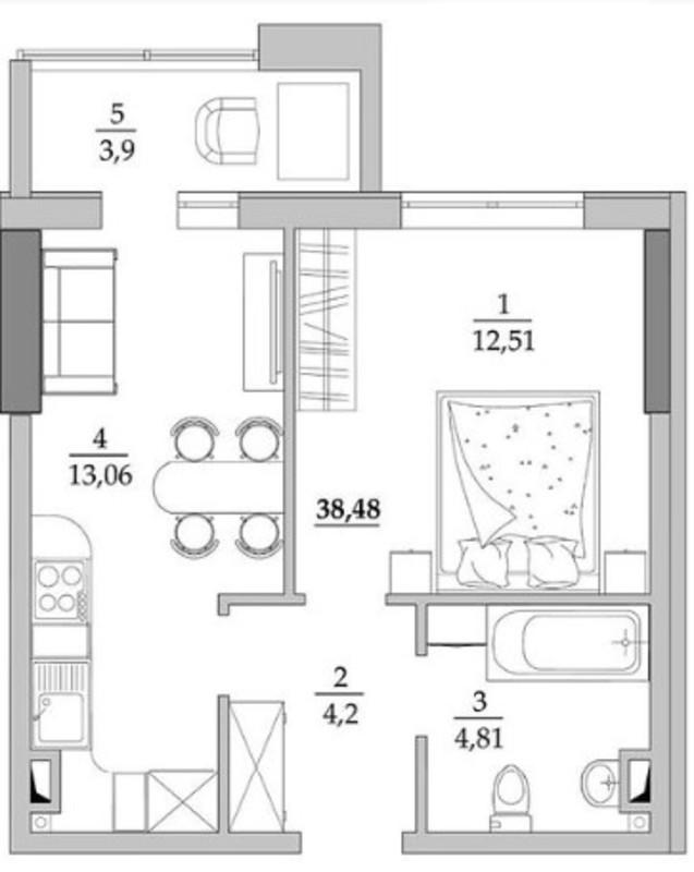 1 комнатная квартира в ЖК Таировские Сады на Вильямса