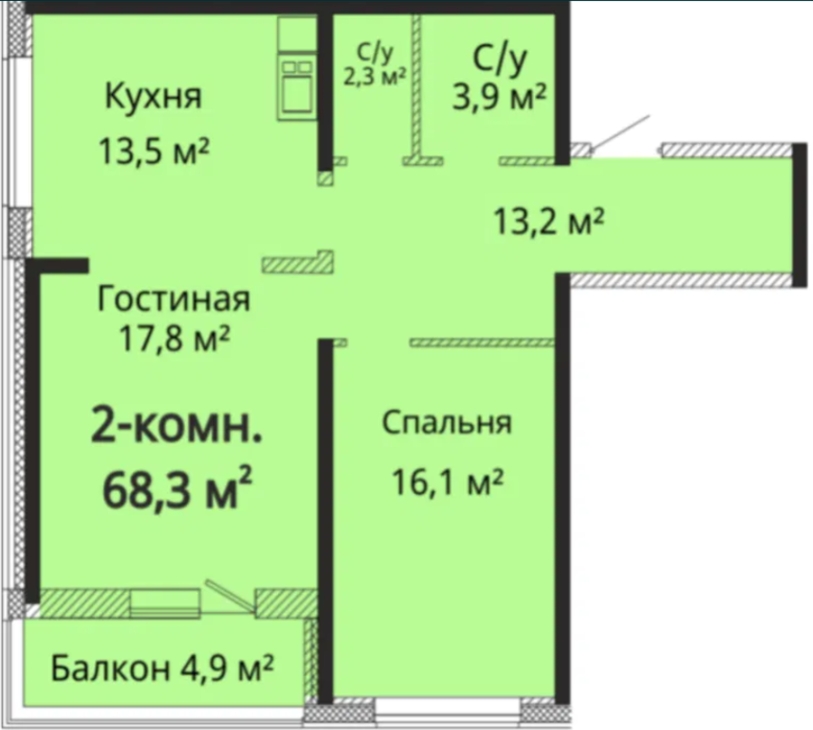 2-комнатная квартира в Альтаир — 3