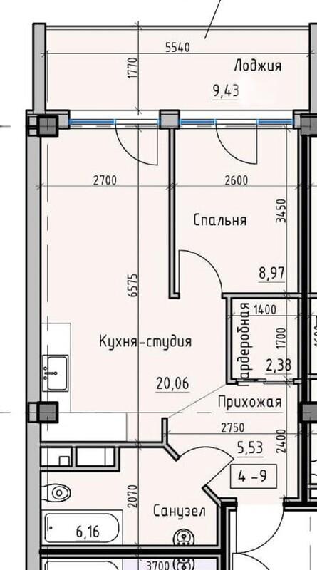 1 комнатная квартира в ЖК Пространство на Донского