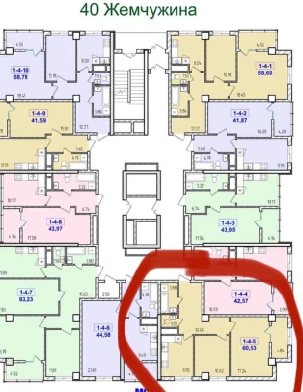 2 комнатная квартира в 40 Жемчужине