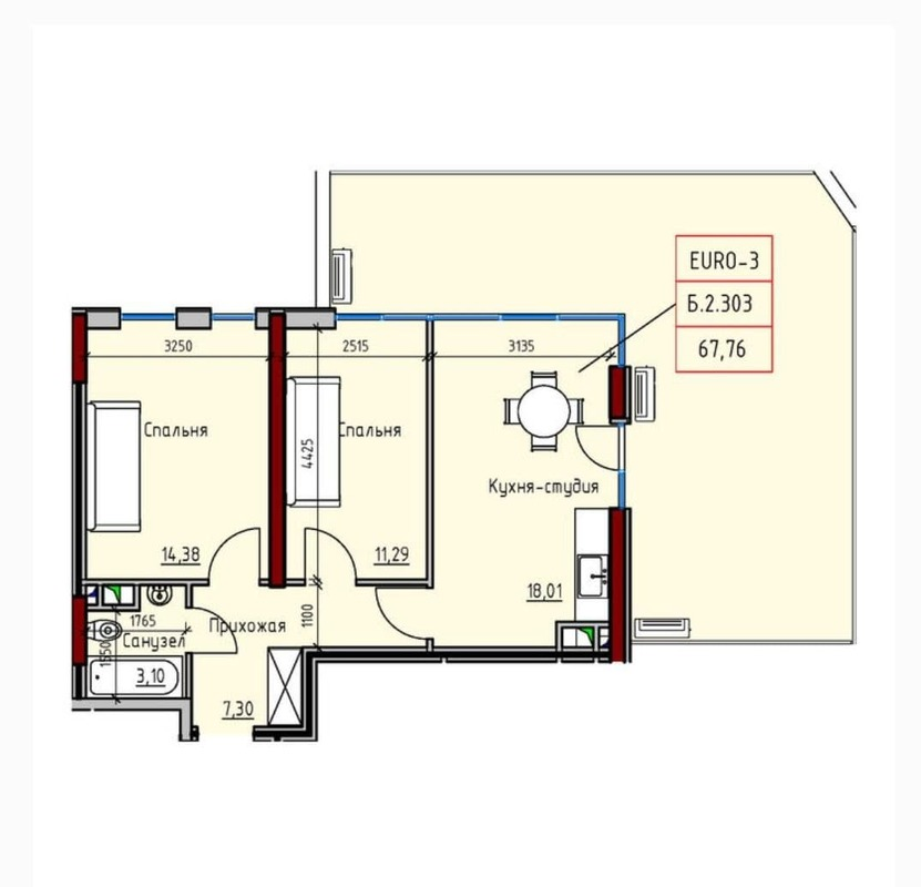 2-комнатная квартира с террасой в Пространстве на Радостной
