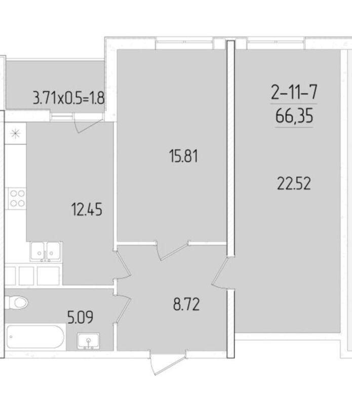 2-комнатная квартира в ЖК 60 Жемчужина