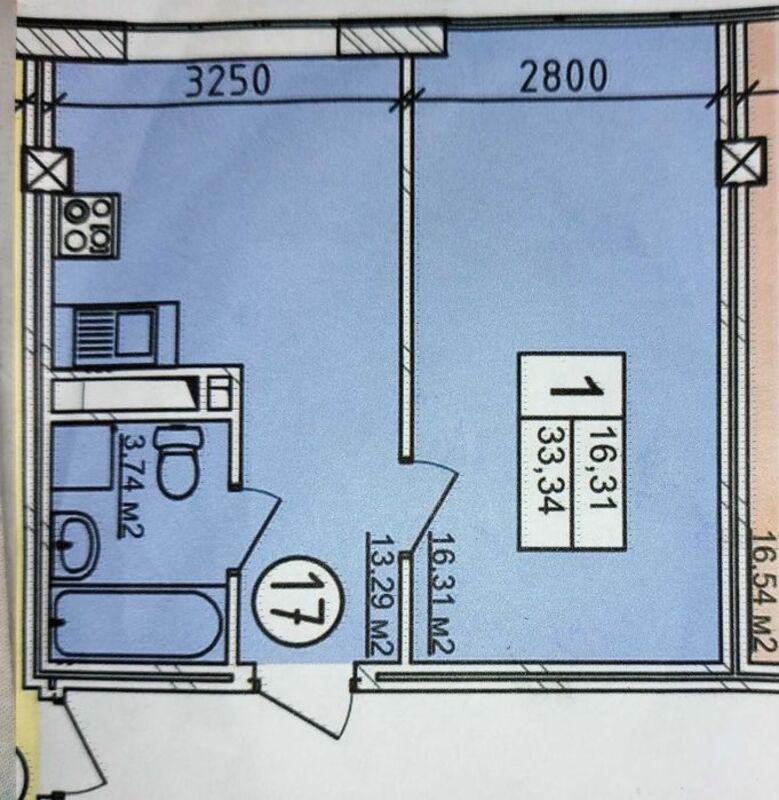1-комнатная квартира с ремонтом в скандинавском стиле.
