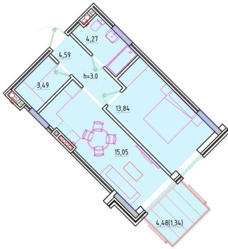 1-комнатная квартира в Пространстве на Литературной.