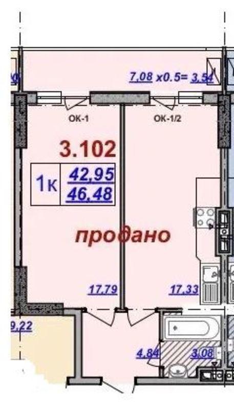 1 комнатная квартира в ЖК Милос