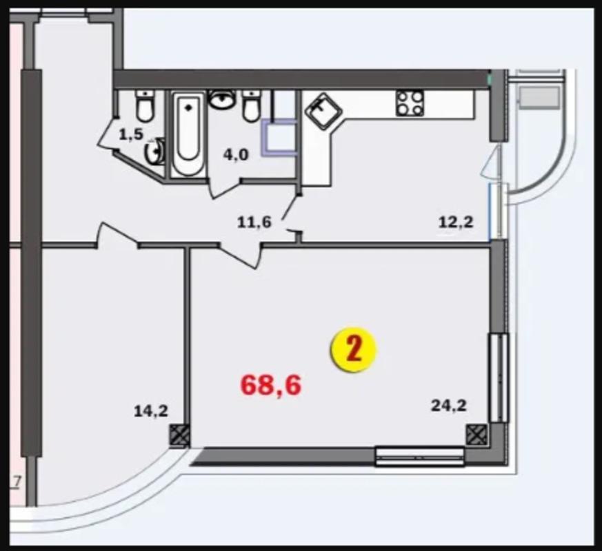 2 комнатная квартира в ЖК 2 Жемчужина/Аркадия.