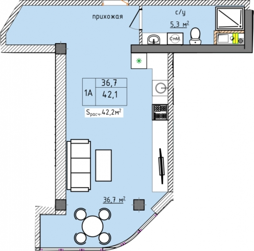 1 комнатная квартира студия в ЖК Аквамарин