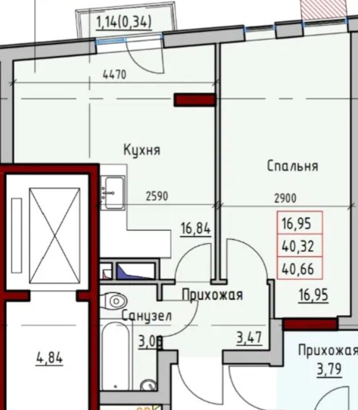 1 комнатная квартира на Раскидайловской