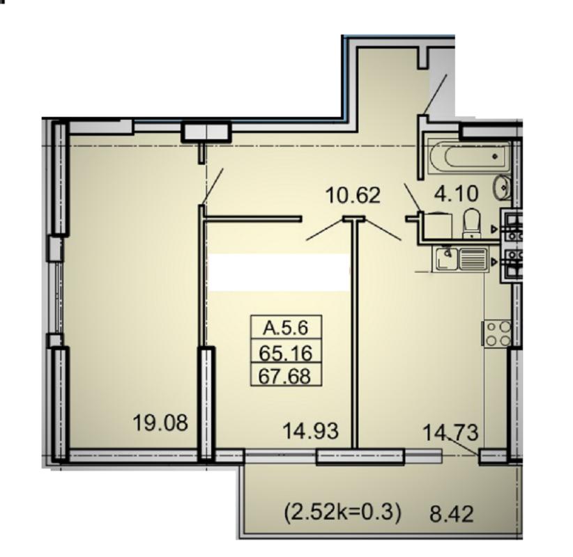 2-комнатная квартира в ЖК Акрополь на 5-й станции Фонтана