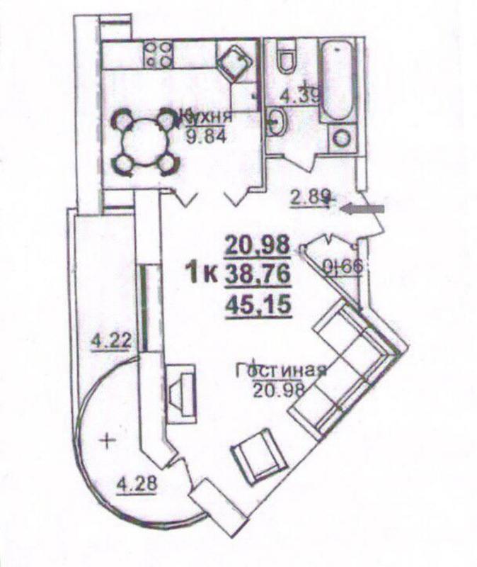 1-комнатная квартира в ЖК Щепной