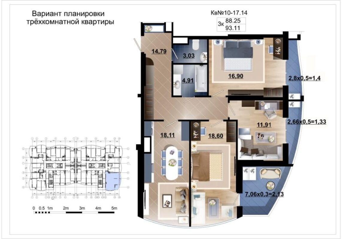 3-комнатная квартира с видом на море.
