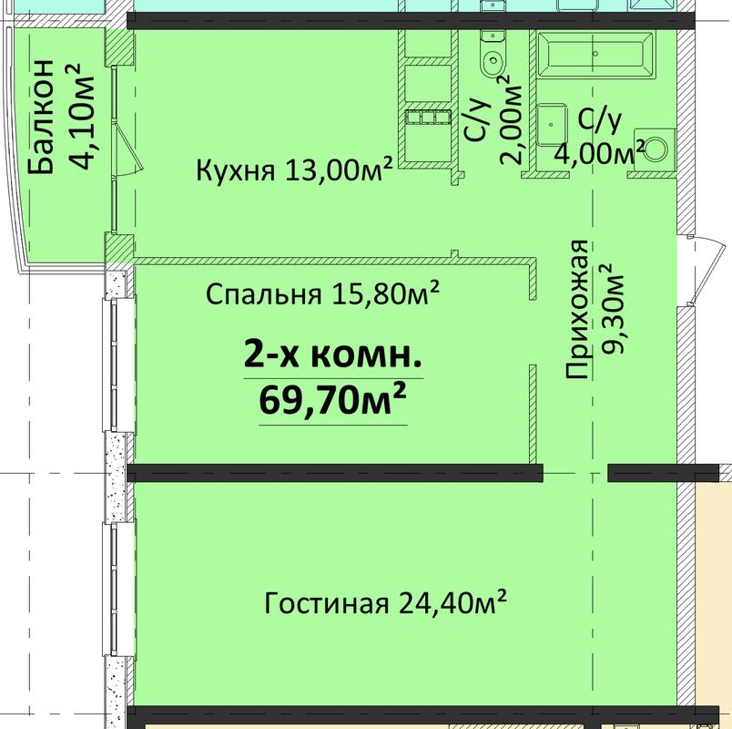 2-комнатная квартира в ЖК 4 Сезона. Секция 4
