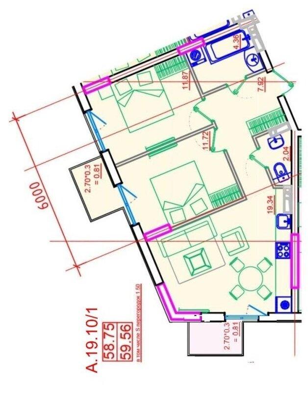 2 комнатная квартира по улице Приморской