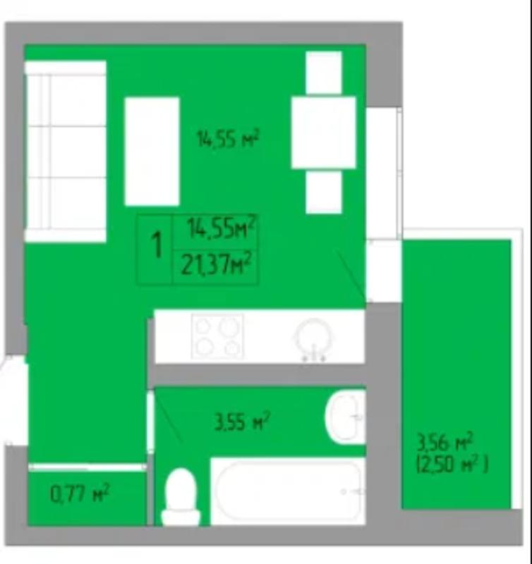 1-комнатная квартира на Пишоновской