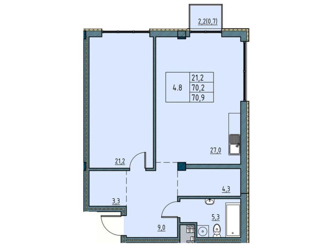 1-комнатная квартира в Пространстве на Ришельевской