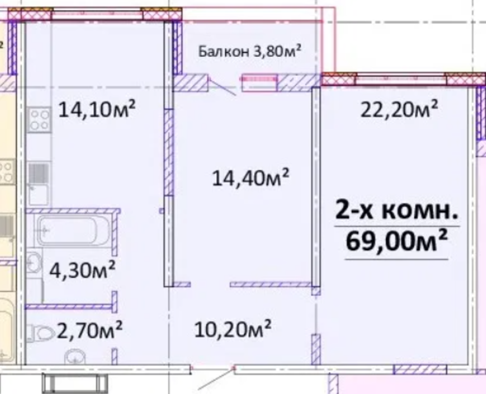 2-комнатная квартира на Гагарина
