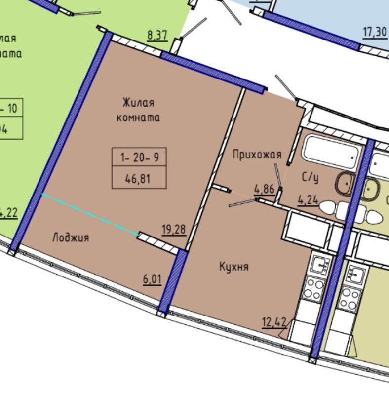 1-комнатная квартира в ЖК 48 Жемчужина