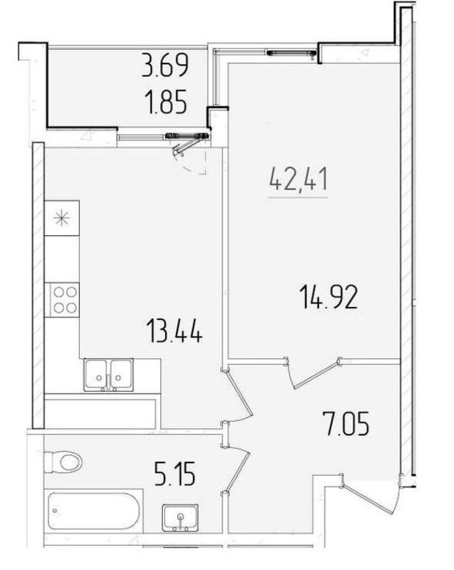 Однокомнатная квартира в Kadorr City