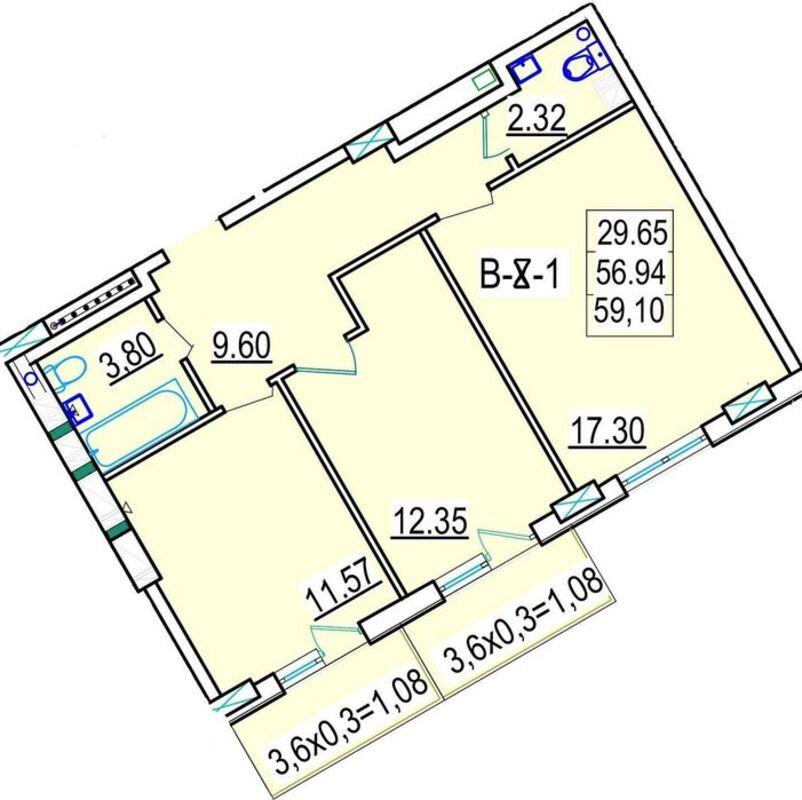 Двухкомнатная квартира в ЖК Континент