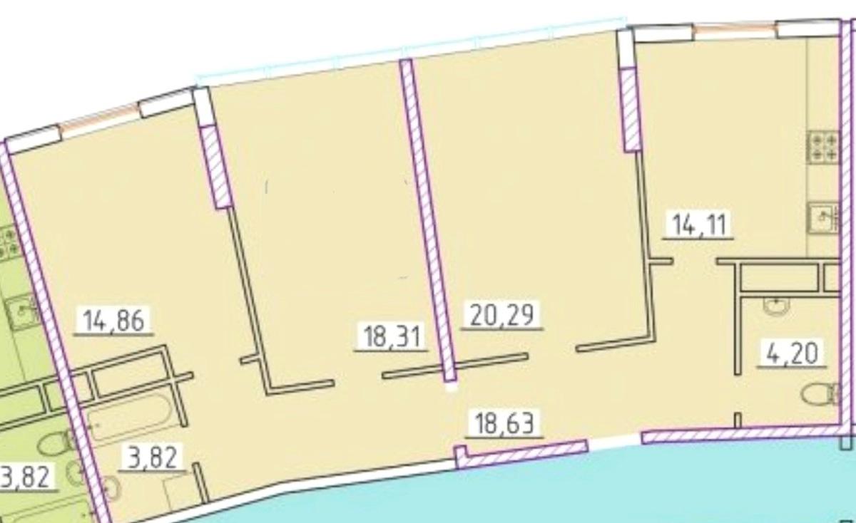 3-комнатная квартира в ЖК 42 Жемчужина