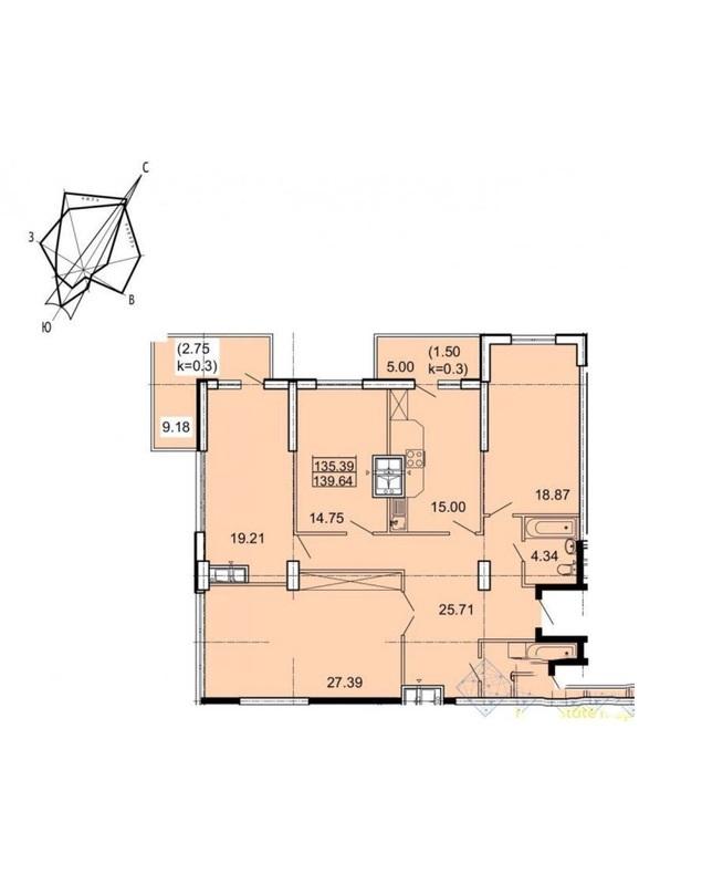 3 комнатная квартира в ЖК Акрополь 2