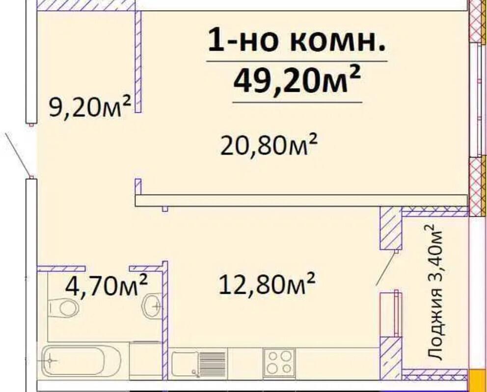 1-комнатная квартира в ЖК Оскар