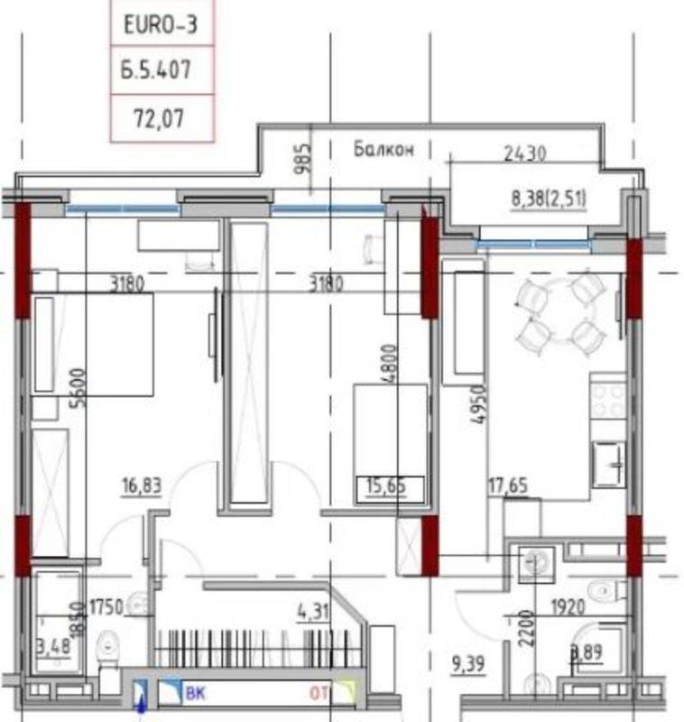 2-комнатная квартира в Пространстве на Донского