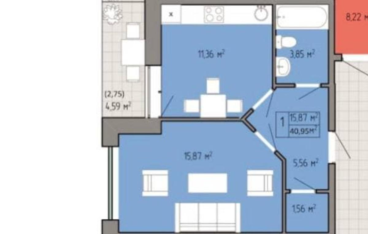 1 комнатная квартира в ЖК Акварель-2
