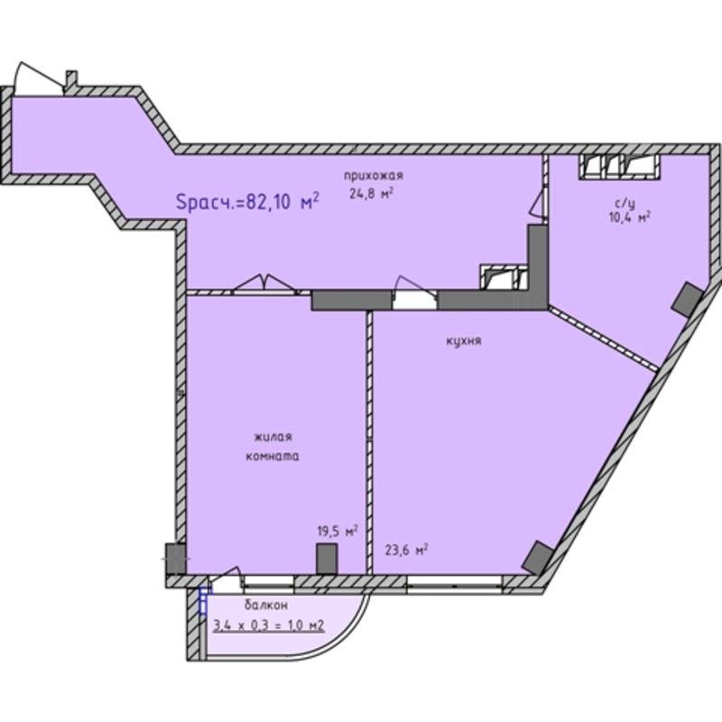 2 комнатная квартира в ЖК Аквамарин/16 Фонтана