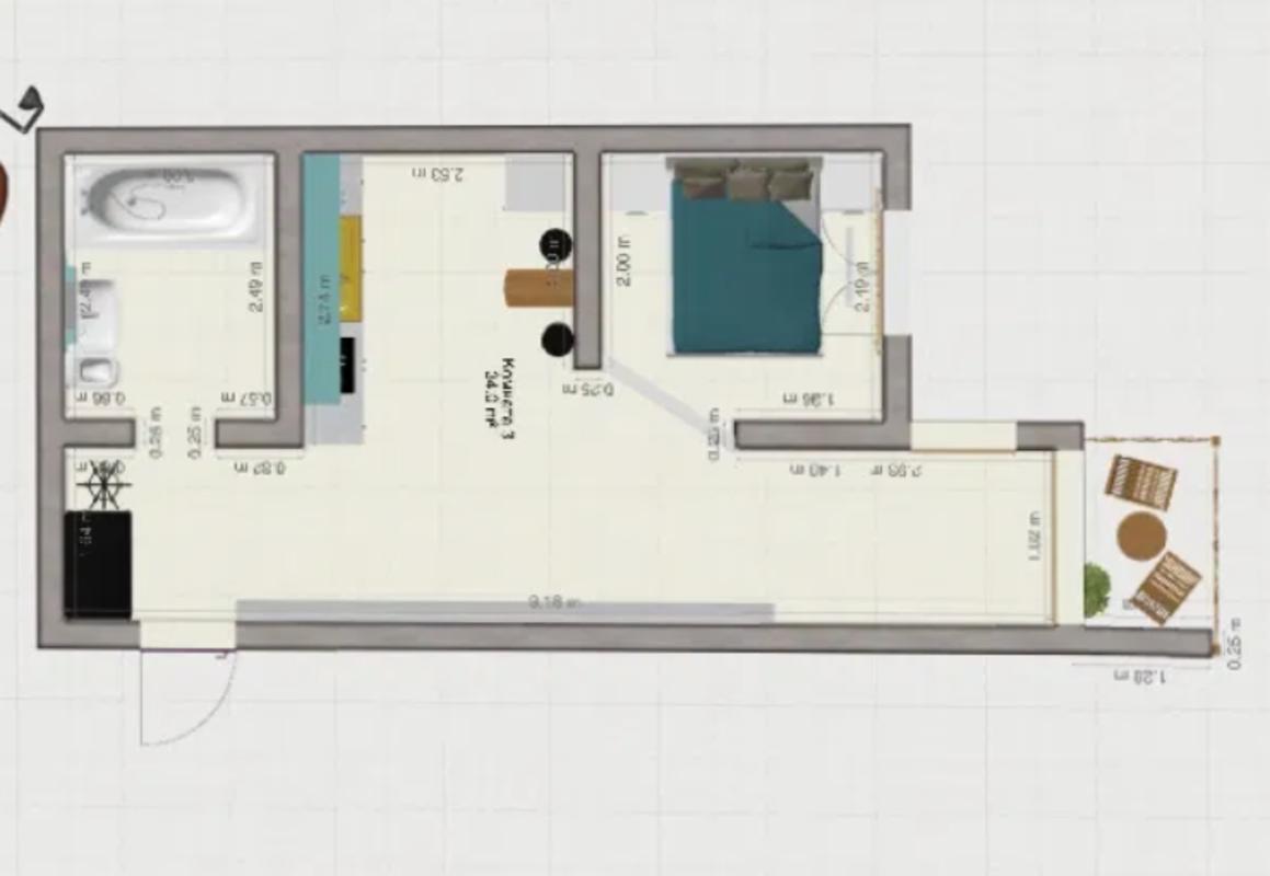 1 комнатная квартира на Генерала Цветаева