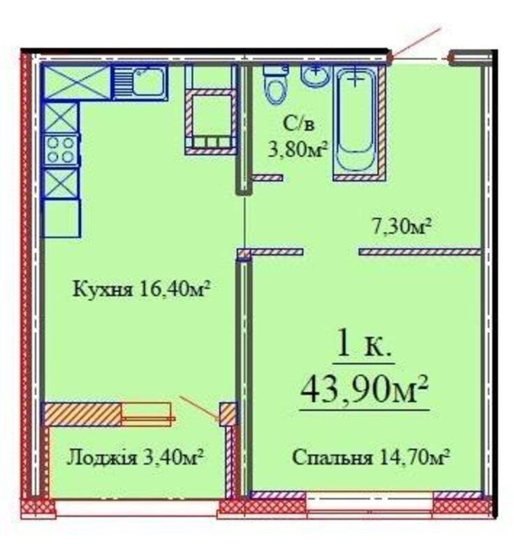 1 комнатная квартира в ЖК Скай Сити на улице Варненской