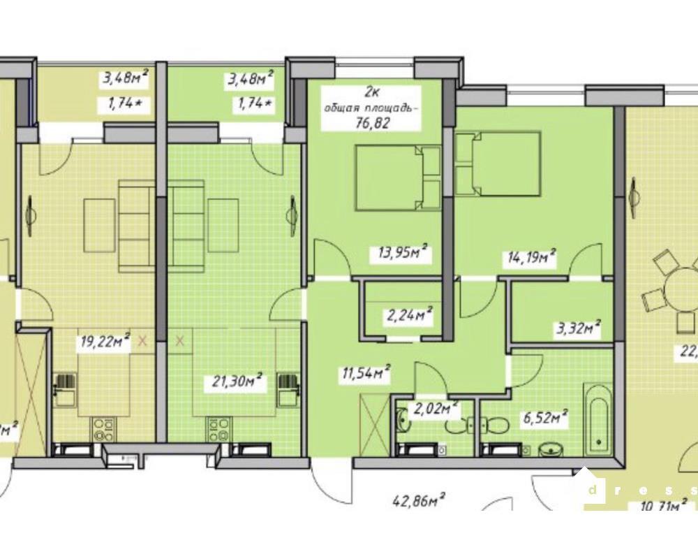 2-комнатная с кухней-студией в ЖК Otrda Sky
