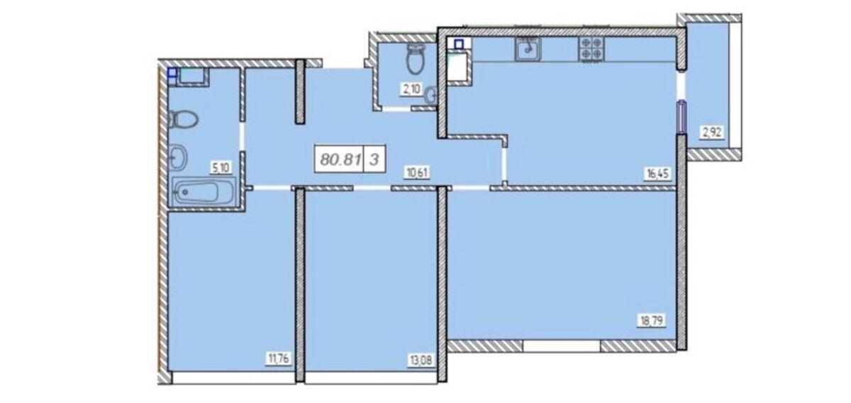 3-комнатная квартира в ЖК 49 Жемчужина