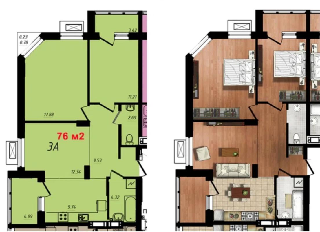 2 комнатная квартира на Таирова/ улица Маршала Жукова
